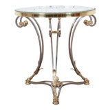 Image of Labarge Hollywood Regency Brass, Steel, and Glass Side Table With Hooved Feet For Sale