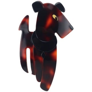 Vintage Lea Stein 'Ric the Dog' Layered Plastic Brooch For Sale