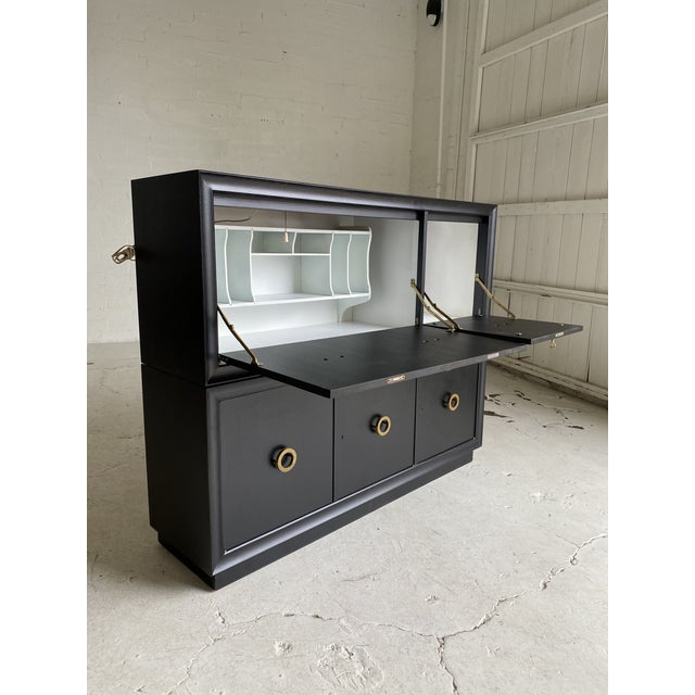 Mid-Century Modern Mid-Century Black and Brass 2-Tiered Secretary For Sale - Image 3 of 9