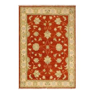 Kafkaz Peshawar Joellen Rust & Ivory Wool Area Rug - 3'4 X 4'11 For Sale
