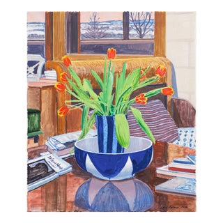 'Red and Yellow Tulips' by Lars Swane, 1986; Modernist Still Life, Copenhagen, France For Sale
