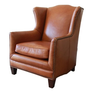 Henredon Studded Brown Leather Wingback Lounge Chair For Sale