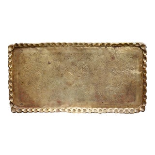 1960s Boho Chic Brass Tray For Sale