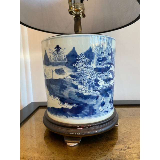 1920s Antique Chinoiserie Delftware Lamp For Sale - Image 5 of 7