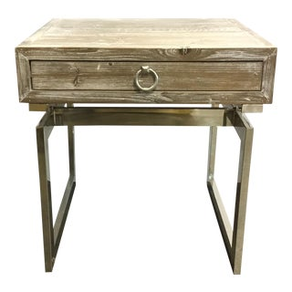 Organic Modern Go Home Magnolia Wood and Nickel End Table For Sale