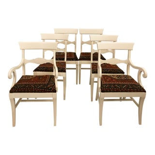 S/6 Oriental Rug Upholstered Dining Chairs For Sale
