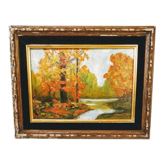 Autumn Fall Forest Landscape Trees Oil Painting For Sale