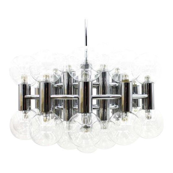 Large Chrome and Glass Chandelier by Motoko Ishii for Staff, 1971 For Sale