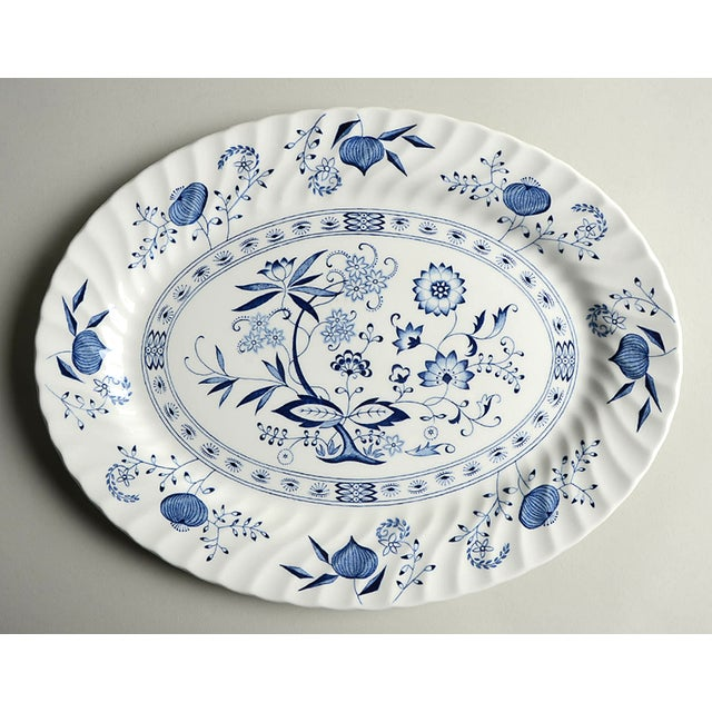 "Johnson Brothers Johnson Brothers Blue Nordic 13"" Oval Serving Platter For Sale - Image 4 of 4"