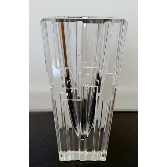 Glass 1980s Contemporary Modern Sweden Orrefors Signed Glass Vase Table Sculpture For Sale - Image 7 of 7