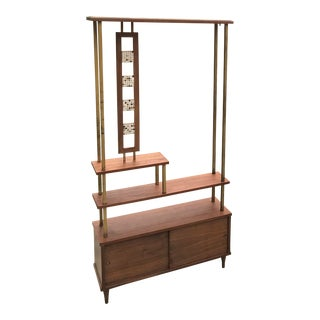 Mid Century Open Bookcase Shelving Wall Unit For Sale