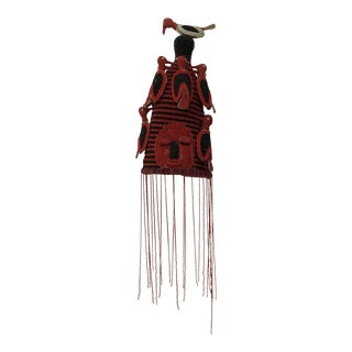 Yoruba Nigeria African Red Royal Beaded Headdress Crown on Lucite Stand For Sale