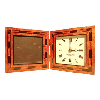 2000s Addison Ross London England Marquetry Desk Picture Frame Clock For Sale