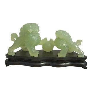 1970s Vintage Jade Foo Dogs on Base For Sale