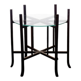 Antique Hongmu Folding Frame Side Table With Glass Top For Sale