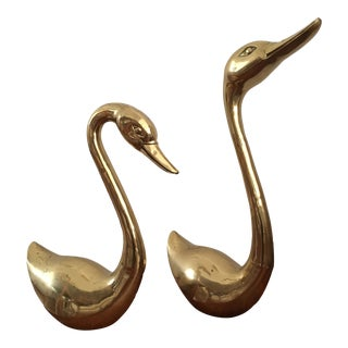 1970's Large Brass Duck Statues - a Pair For Sale