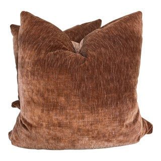 "Terra Cotta Strie Cotton Velvet 22"" Pillows-A Pair For Sale"