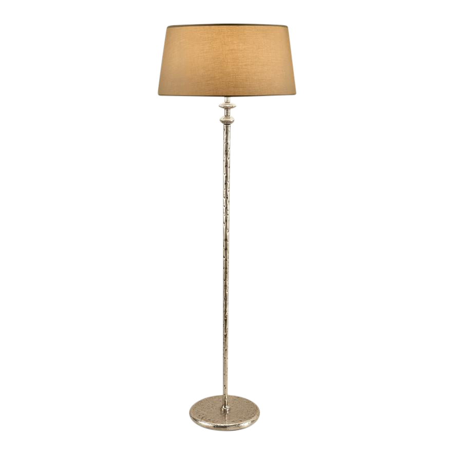 Antique Silver Leaf Floor Lamp With Shade