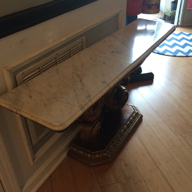 Marble Pedestal Console Table - Image 4 of 5