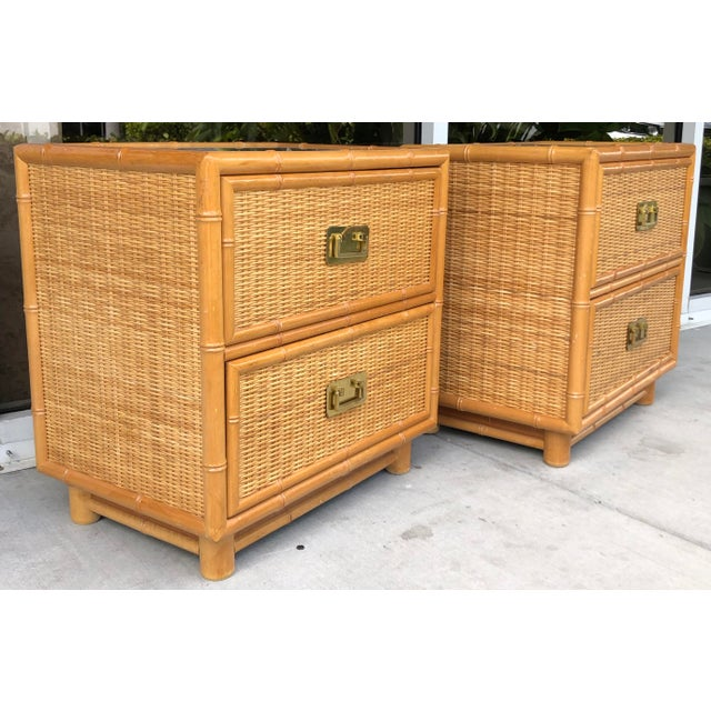 Coastal Style Bamboo/Rattan Nightstands For Sale In Miami - Image 6 of 8