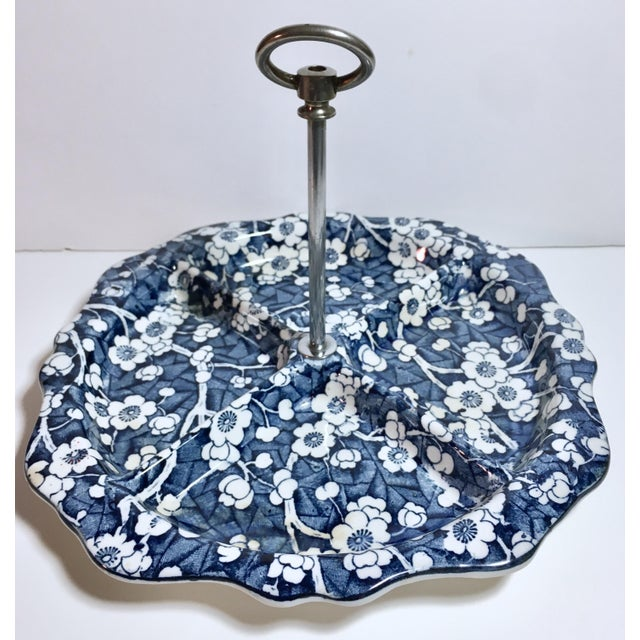 "1930s Stoke on Trent/Empire Porcelain ""Hawthorn"" Blue and White Divided Serving Tray For Sale - Image 12 of 12"