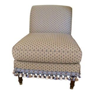 1990s Traditional Pierre Frey Upholstery Cream Slipper Chair For Sale