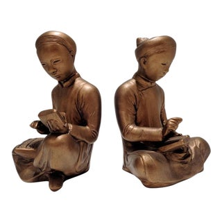 Vintage Gilt Gold Chinese Mathematician & Scribe Sculptures Bookends For Sale