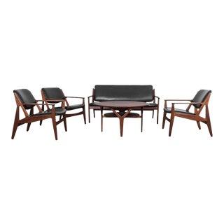 Teak and Black Leather Living Room Set by Arne Vodder - Set of Five For Sale