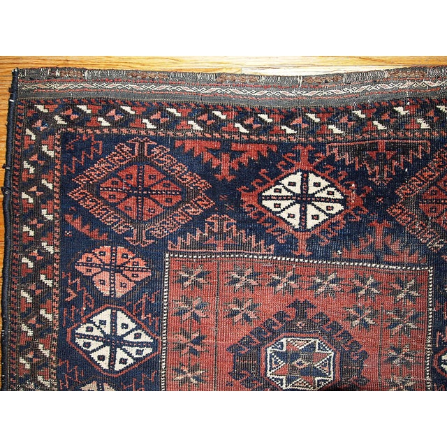 1880s Handmade Antique Afghan Baluch Rug - 2.7' X 2.10' For Sale - Image 5 of 5