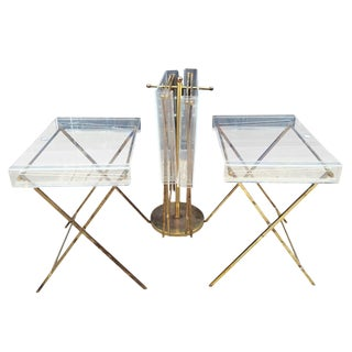 Charles Hollis Jones Clear Lucite and Brass Serving Trays For Sale