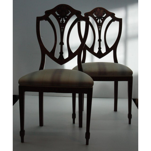 Pair of Painted Edwardian Satinwood Shield Back Chairs For Sale - Image 9 of 9