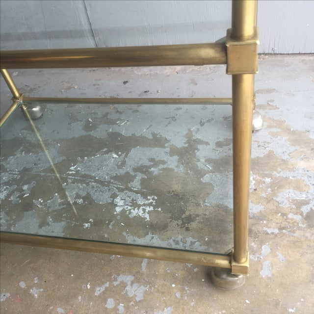 Vintage Mid Century Brass Bar Cart - Image 5 of 6