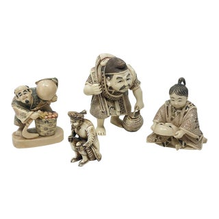 Vintage Collection of Carved Faux Bone Asian Figures - Set of 4 For Sale