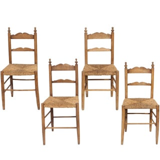 19th C. Vintage Rush Seat Italian Chestnut Chairs - Set of 4 For Sale