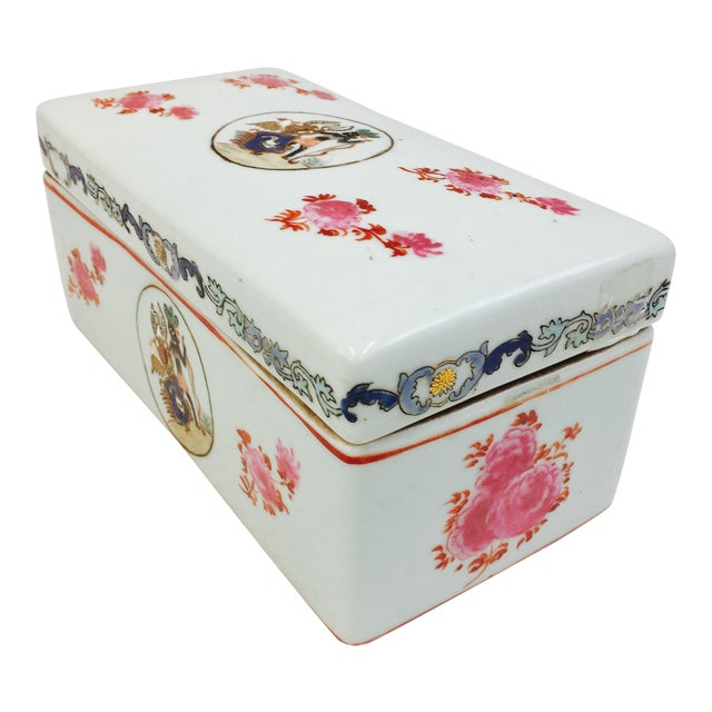 Vintage Porcelain Chinese Box For Sale