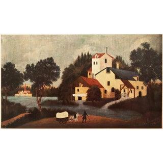 1951 Henri Rousseau Paysage Avec Moulin a Eau Parisian Photogravure For Sale