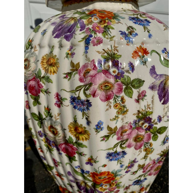 Mid 20th Century Vintage Floral Chintz Ceramic Lamp For Sale - Image 5 of 6