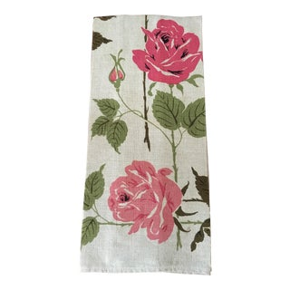 1960s Pink Rose Linen Hand Towel For Sale