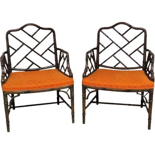Pair Faux Bamboo Armchairs