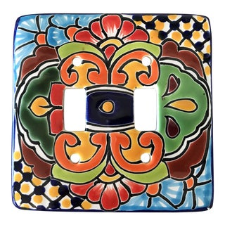 Hand Painted Mexican Art Double Switch Wall Plate For Sale