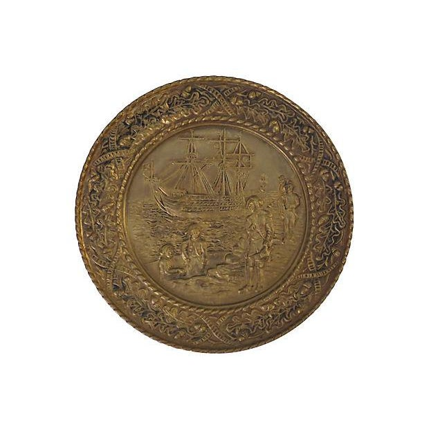English Traditional Vintage English Hammered Brass Ship Wall Plaque For Sale - Image 3 of 6