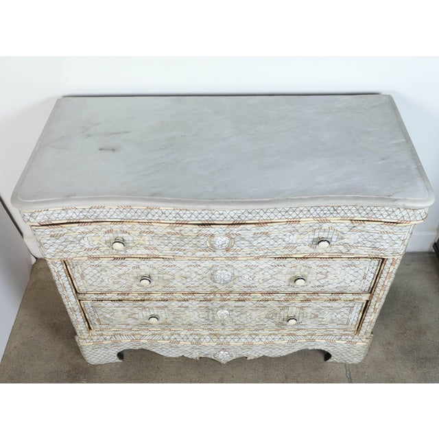 Mid 20th Century 20th Century Syrian White Mother-Of-Pearl Inlay Wedding Dressers - a Pair For Sale - Image 5 of 10