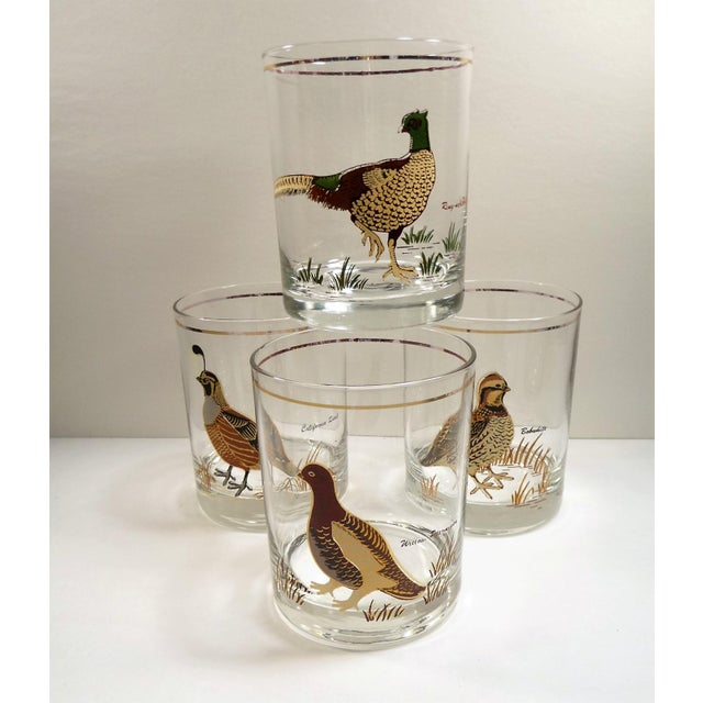 Vintage Mid Century Culver Assorted Game Bird Bar Glasses - Set of 4 - Image 2 of 9