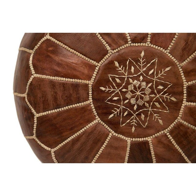 Embroidered Leather Pouf in Chestnut - Image 3 of 3