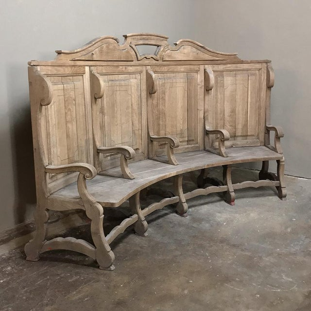 18th Century Rounded Foyer ~ Bay Bench was hand-crafted from solid old-growth oak in a crescent shape, designed for four...