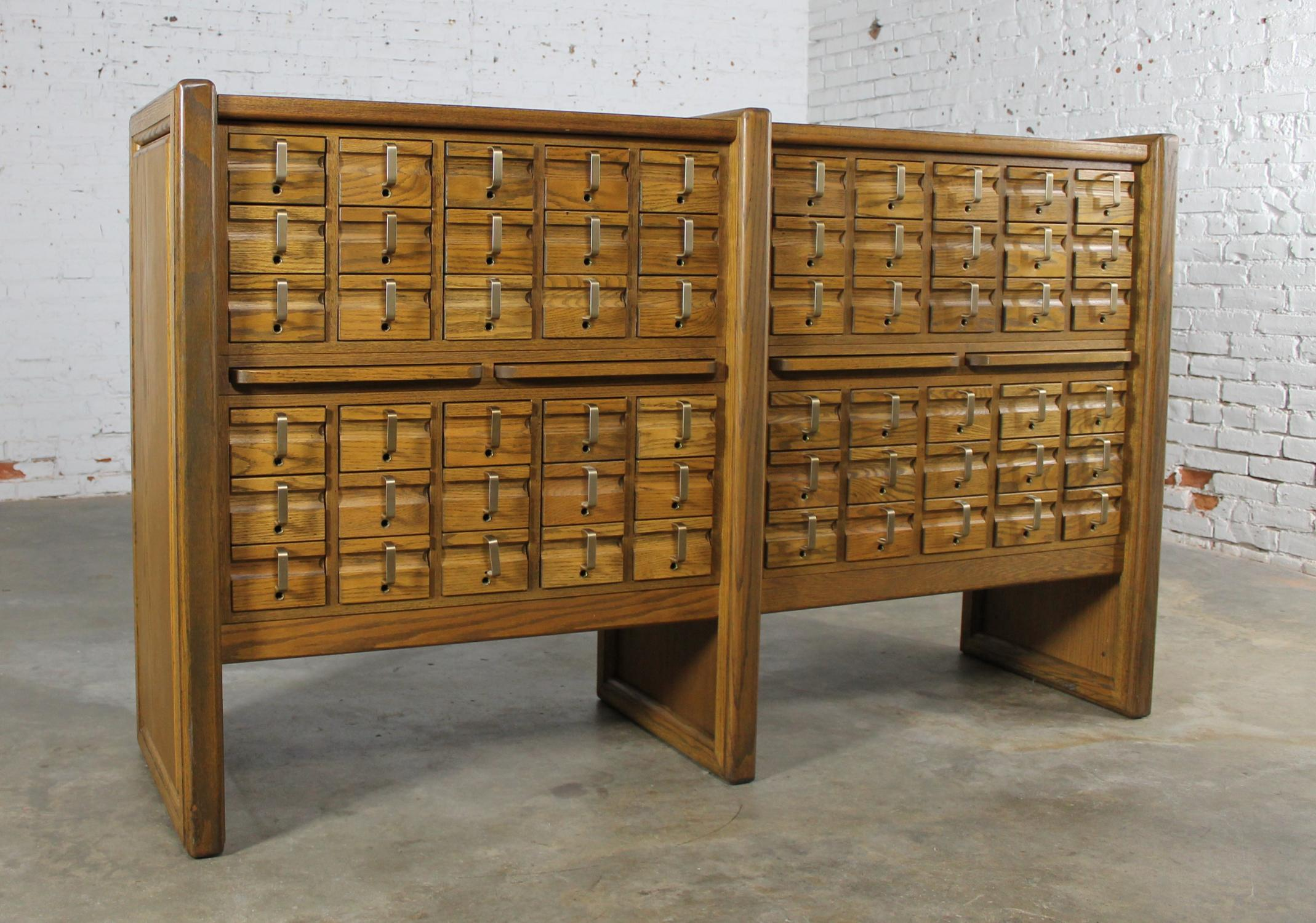 Vintage Oak 60 Drawer Library Card Catalog Cabinet Chairish