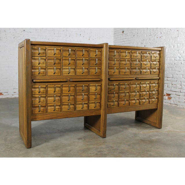 Vintage Oak 60 Drawer Library Card Catalog Cabinet For Sale - Image 11 of 12 - Vintage Oak 60 Drawer Library Card Catalog Cabinet Chairish