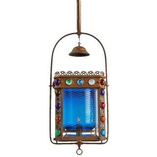 Inordinately Rare Jewel Encrusted Entry Lantern W/ Blue Swirl Shade Circa 1885