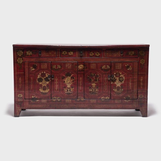 Mongolian Floral Painted Storage Chest For Sale - Image 10 of 10