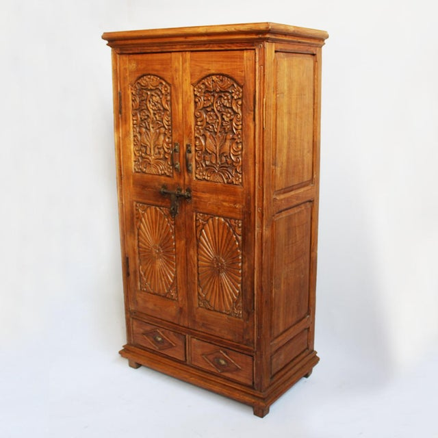 antique indian colonial armoire chairish. Black Bedroom Furniture Sets. Home Design Ideas